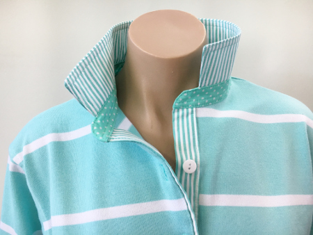 Mint & White stripe rugby - matching spot & stripe