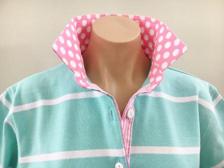 Mint stripe rugby - Pink spot & stripe