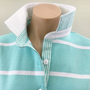 Mint stripe rugby - White & stripe trim