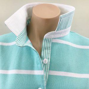 Mint stripe rugby - White & stripe trim