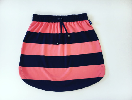 Womens Navy & Coral stripe rugby Skirt