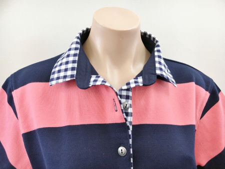 Navy & Coral stripe Rugby - Navy Check trim