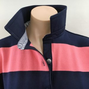 Navy & Coral stripe Rugby - Plain navy + stripe