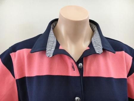 Navy & Coral stripe Rugby - Plain navy + stripe