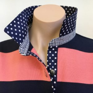Navy & Coral stripe Rugby -  Spot & stripe trim