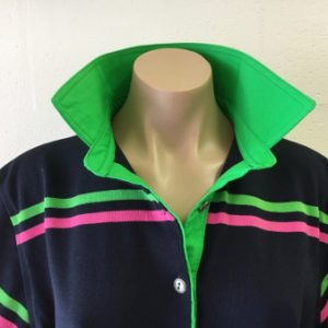 Navy/Pink/Lime stripe Rugby - Plain lime green