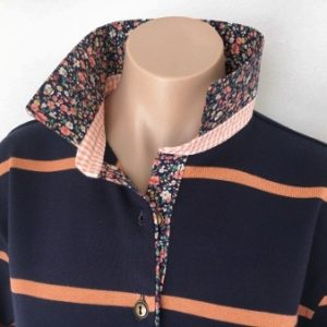 Navy & Orange stripe rugby- Small navy & orange floral & check stand