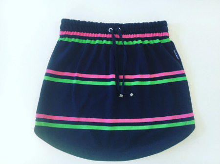 Womens Navy & Pink & Lime Stripe Rugby Skirt
