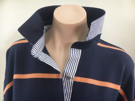 Navy & Pumpkin Stripe Rugby - navy and navy stripe trim