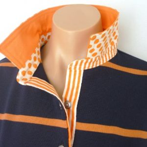 Navy & Pumpkin Stripe Rugby - plain orange + spot & stripe trim