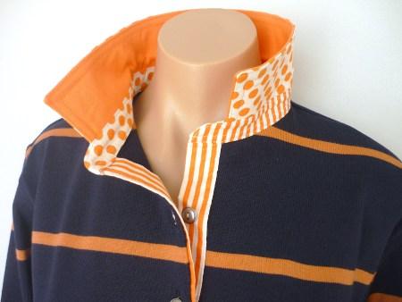 Navy & Pumpkin Stripe Rugby - plain orange + spot & stripe trim