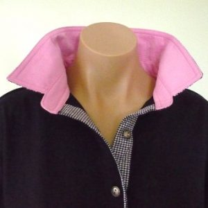 Navy rugby - Candy pink collar and small navy check