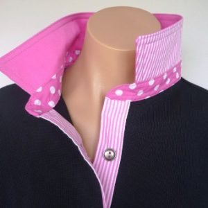Navy rugby - Plain candy pink & matching spot & stripe
