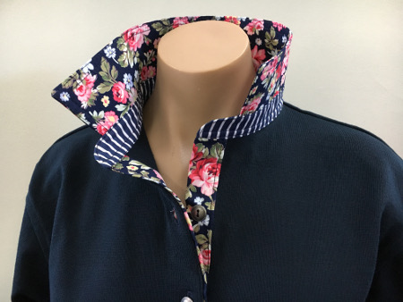 Navy Rugby - Navy based floral with stripe collar stand
