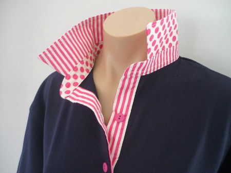 Navy rugby - Hot pink/cream stripe & spot