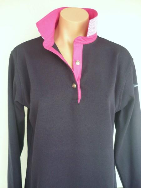 Navy rugby - plain pink trim + pink stripe back collar