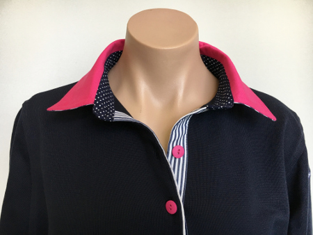 Navy Rugby - Hot pink with small navy spot & thin stripe