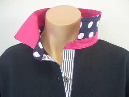 Navy Rugby - Hot pink with navy spot & stripe trim