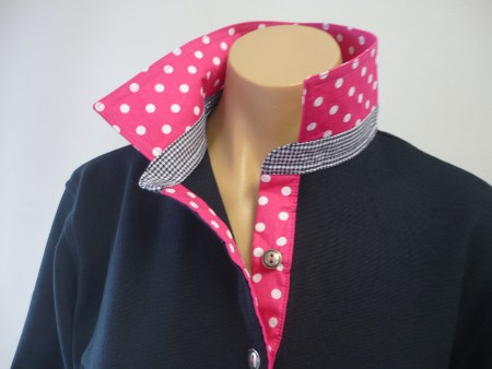 navy rugby - Hot pink spot & small navy check stand