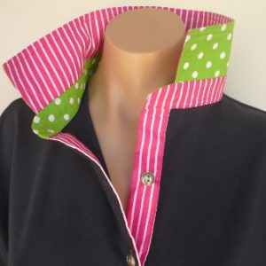 Navy rugby - Hot pink stripe & Lime green spot trim