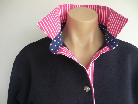 Navy rugby - Hot pink stripe & small navy star