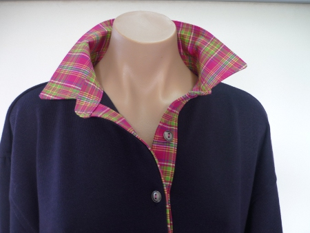 Navy rugby - hot pink plaid