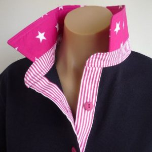 Navy rugby - Large hot pink star and hot pink stripe