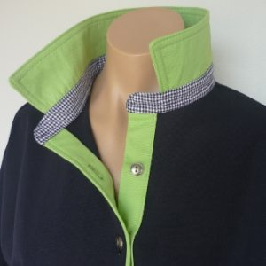 Navy Rugby - Light lime collar and tab & navy check collar stand