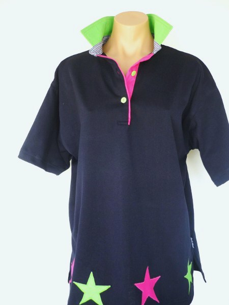 Navy rugby - Lime, navy check & hot pink trim + star applique