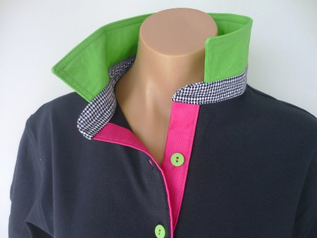Navy rugby - Lime collar, navy check stand & hot pink tab