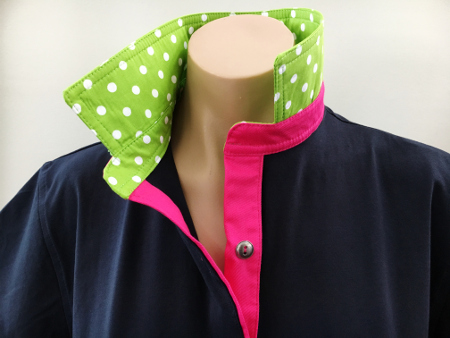 Navy Rugby - Lime spot & hot pink