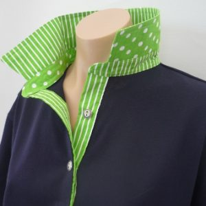 Navy rugby - Lime green spot and stripe