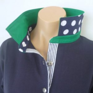 Navy rugby - Mid green with navy spot & stripe