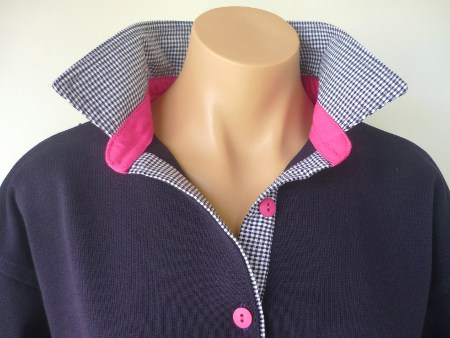 Navy rugby - small navy check and hot pink stand