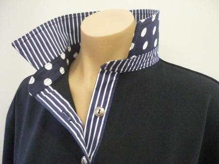 Navy Rugby - Navy spot and stripe trim