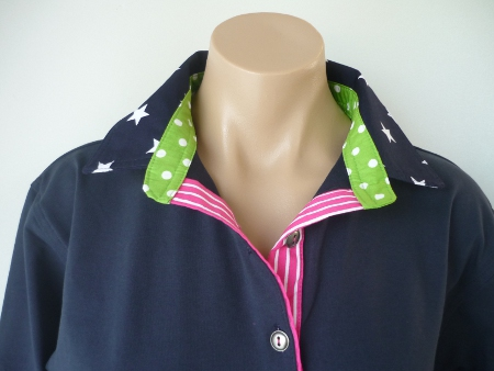 Navy rugby  - Big navy stars, Lime spot stand & pink stripe tab