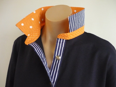 Navy rugby -Orange spot and classic navy stripe