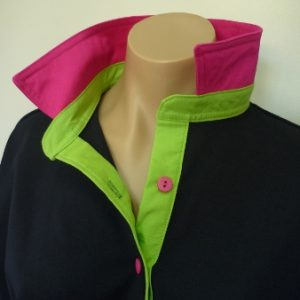Navy rugby - hot pink collar & lime green stand and tab