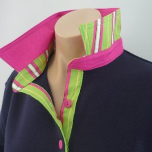 Navy Rugby - Hot pink with pink/green multi stripe