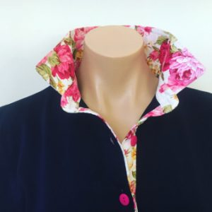 Navy Rugby - Pink Peony trim