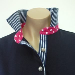 Navy rugby - classic navy stripe and pink spot stand