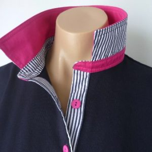 Navy rugby - Plain hot pink & thin navy stripe