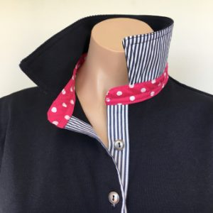 Navy Rugby - navy collar, pink spot stand and navy stripe