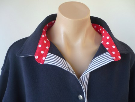 Navy rugby - Plain navy, red spot and navy stripe