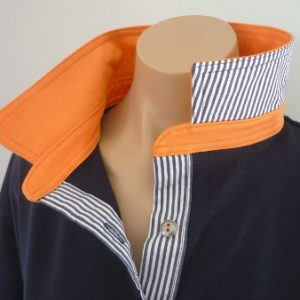 Navy rugby  - Plain orange & navy stripe trim