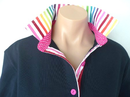 Navy Rugby - Rainbow collar and tab and small pink spot collar stand