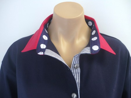 Navy Rugby - Dark red with Big navy spot & stripe