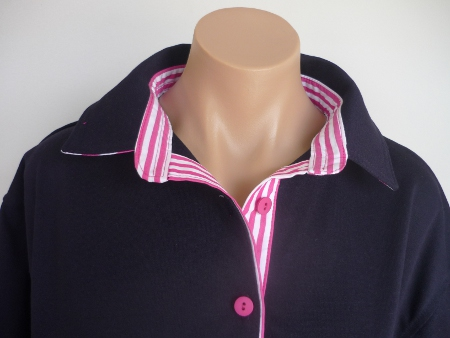 Navy rugby  - Self fabric top collar and hot pink wide stripe trim