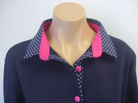 Navy rugby - Navy small spot & Plain hot pink stand
