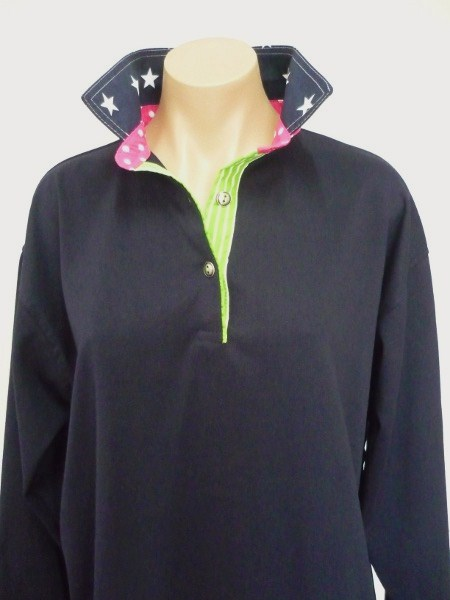 Navy rugby - Navy big stars, Pink spot stand and Lime stripe tab